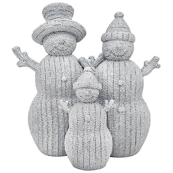 "SILVER ART SNOWMAN FAMILY 8"""