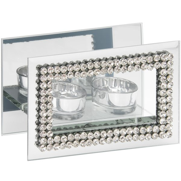 DIAMANTE MIRROR TEALIGHT TWIN