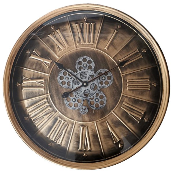 GOLD MOVING COG CLOCK 60CM