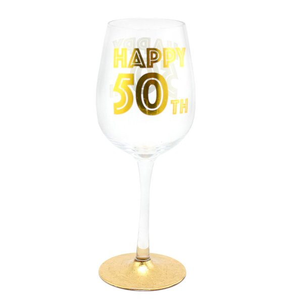 HAPPY 50TH WINE GLASS