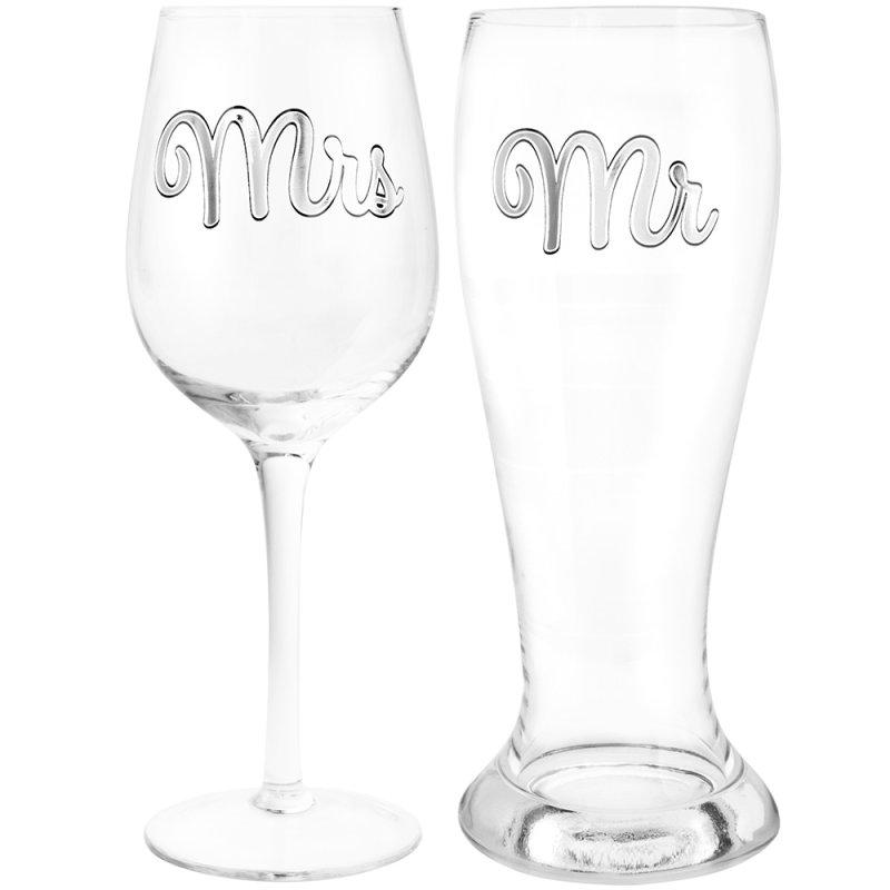 MR & MRS BEER & WINE GLASS