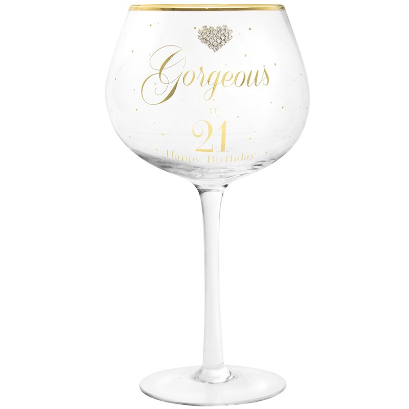 MAD DOTS GIN GLASS HAPPY 21ST