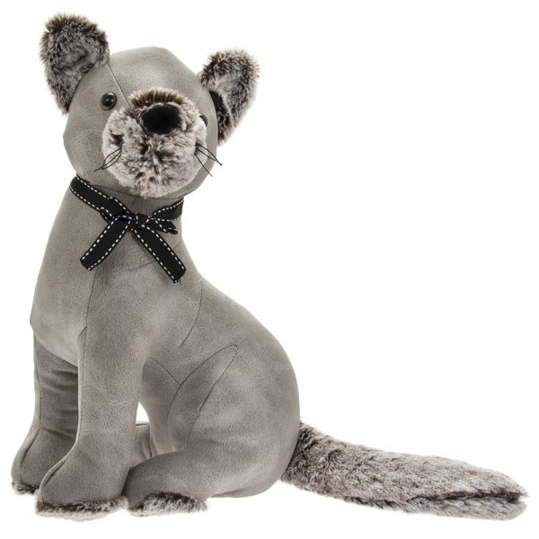 GREY FAUX LEATHER CAT DSTOP