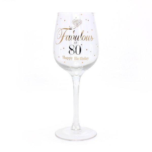 MADDOTS 80 BDAY WINE GLASS