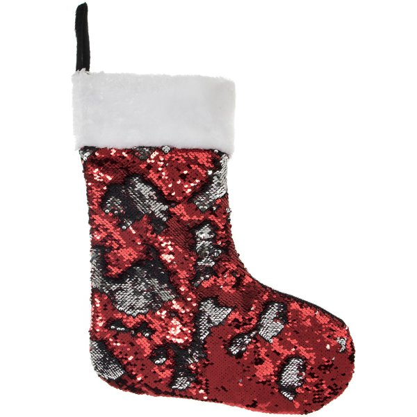SEQUIN STOCKING RED/SIL