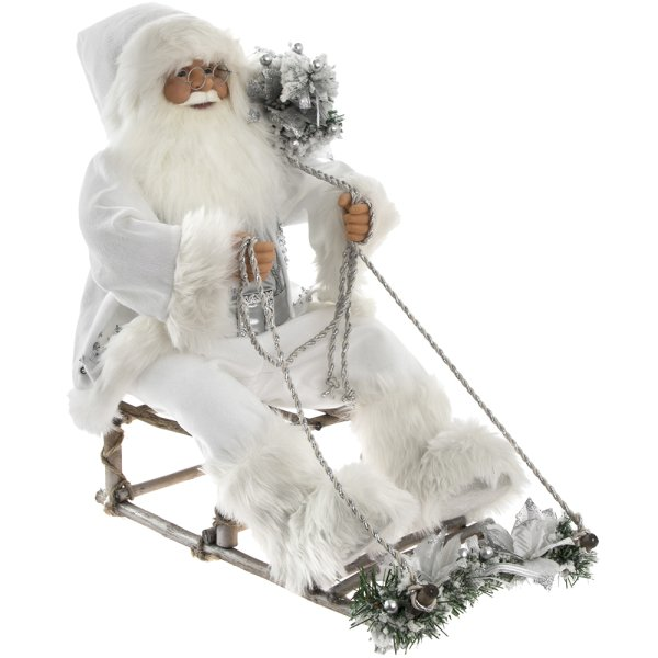 SANTA MOVING SITTING SILV 24""