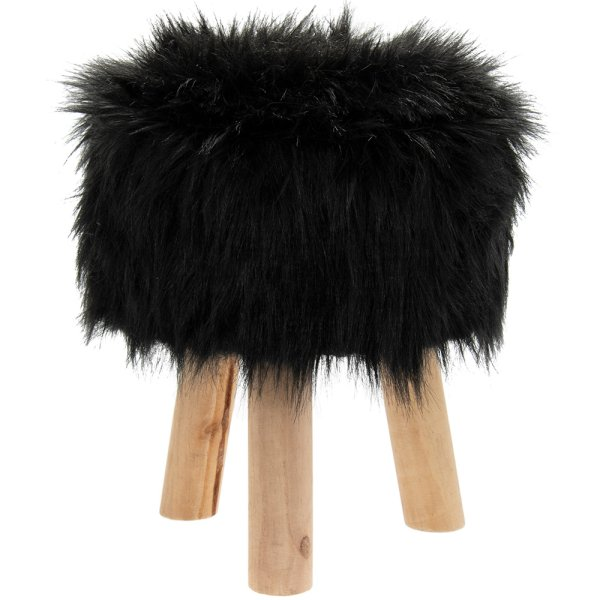 BLACK FURRY STOOL ROUND