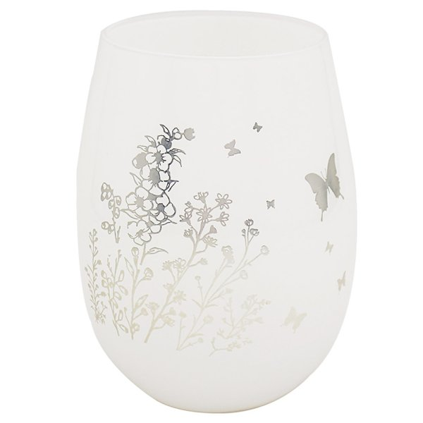 BUTTERFLY SIL/WHT S/LESS GLASS