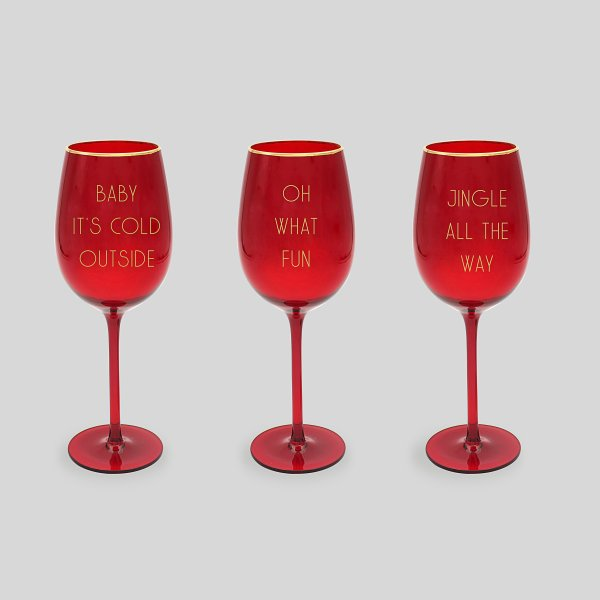 XMAS WINE GLASS 3 ASST