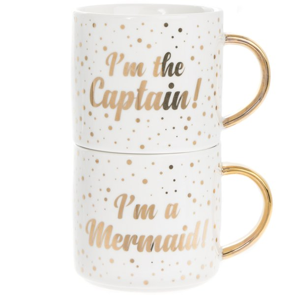MERMAID/CAPTAIN STACK MUGS 2S