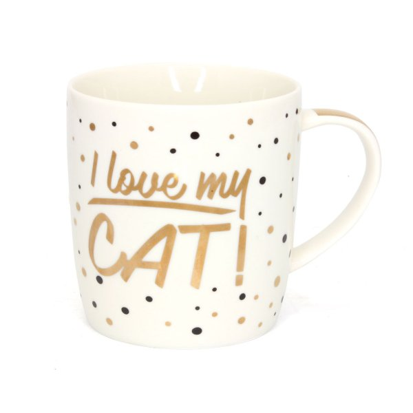 GOLD I LOVE MY CAT MUG