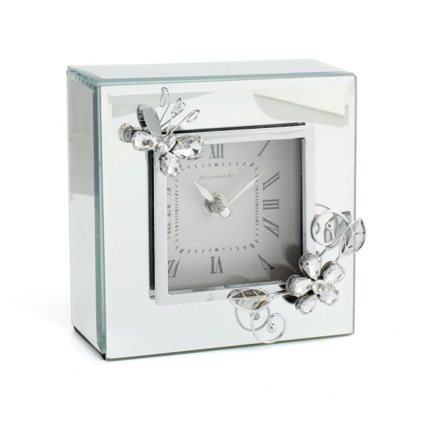 CRYSTAL MIRROR BUTTERFLY CLOCK