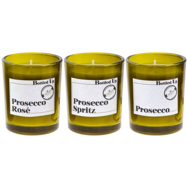 PROSECCO BOTTLE CANDLE SET 3
