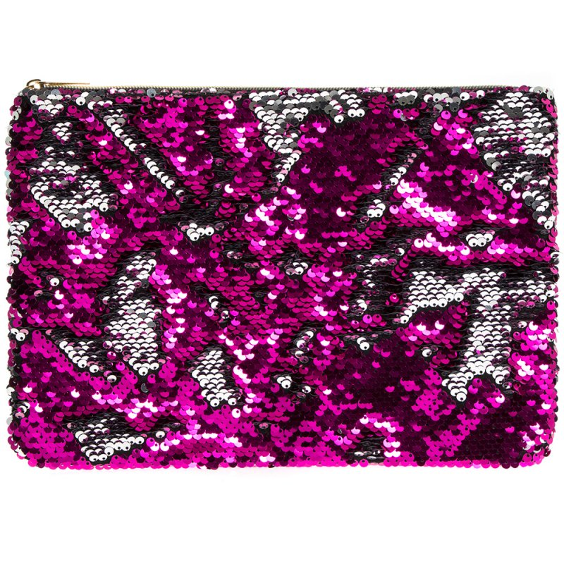 SEQUIN CLUTCH PINK & SILVER