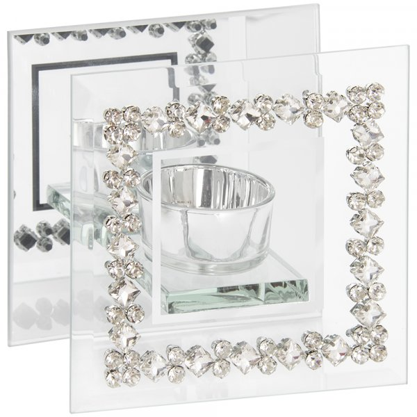 MIRROR DIAMANTE TEA LIGHT HOLD