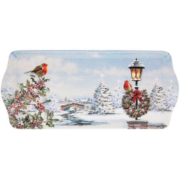 CHRISTMAS ROBINS TRAY MEDIUM