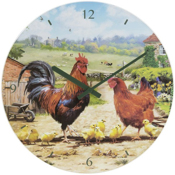 COCKEREL & HEN GLASS CLOCK