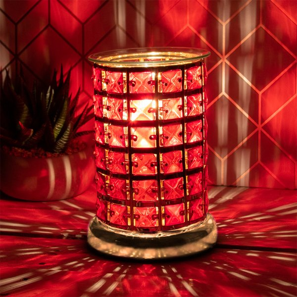 AROMA LAMP RED CRYSTAL GOLD