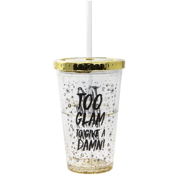 GOLD GLITTER GLAM CUP W/STRAW