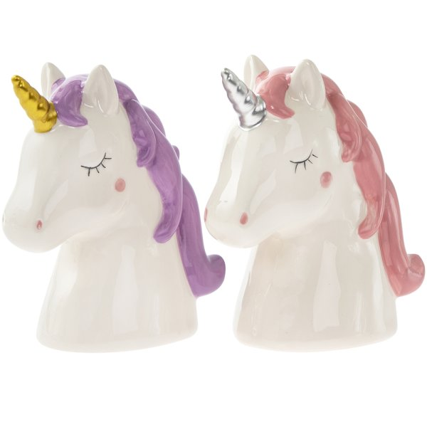 UNICORN BUST MONEY BOX 2 ASST