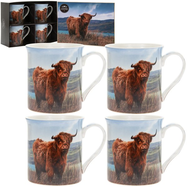 HIGHLAND COW MUGS SET OF 4
