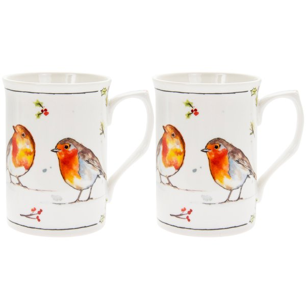 WINTER ROBINS SET OF 2 MUGS