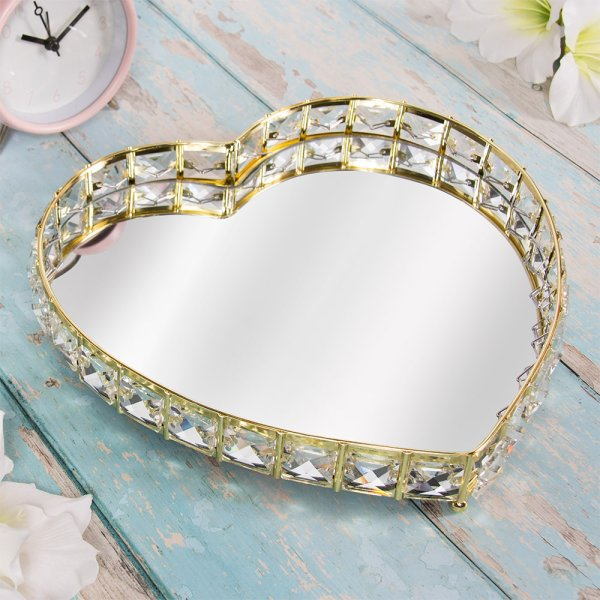 GOLD CRYSTAL TRAY HEART M