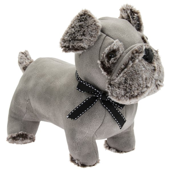 GREY FAUX LEATHER PUG DOORSTOP