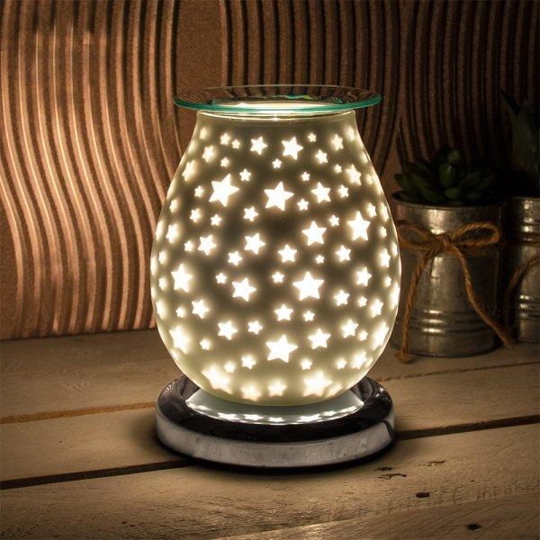 SATIN WHT STARS AROMA LAMP
