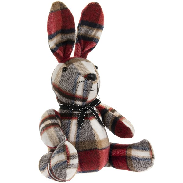 RED CHECK RABBIT DOORSTOP