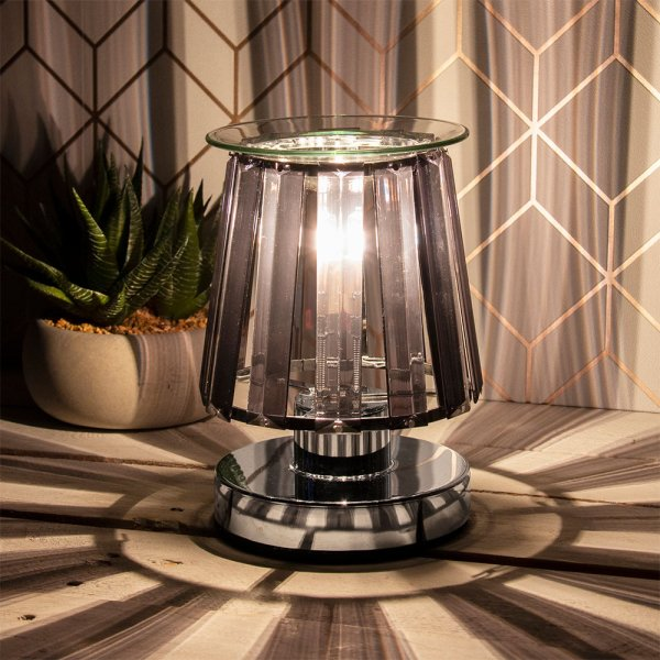 AROMA LAMP SILVER BLK CRYSTAL