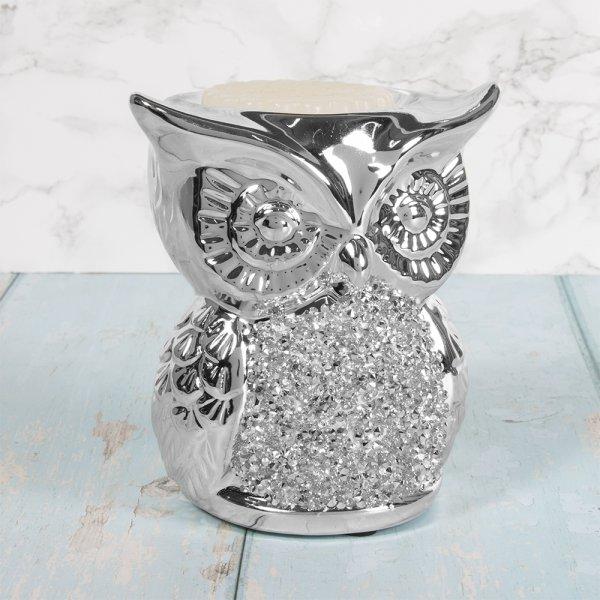 SILVER SPARKLE OWL BURNER