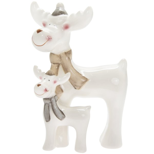 REINDEER WITH BABY WHITE SML