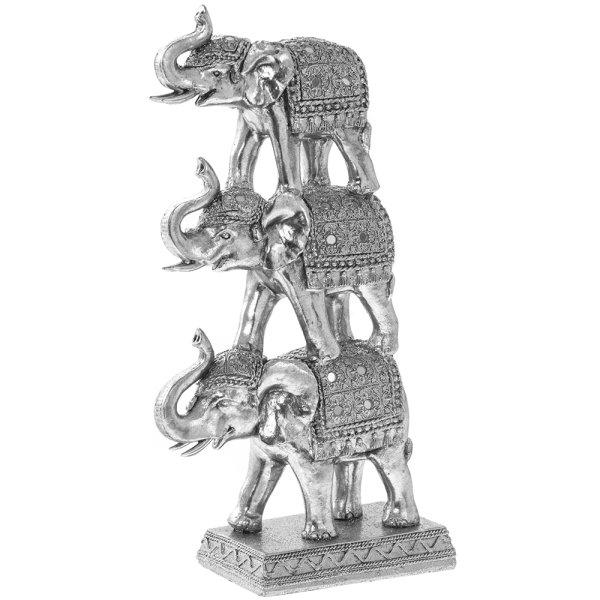 SILVER ART STACKING ELEPHANTS