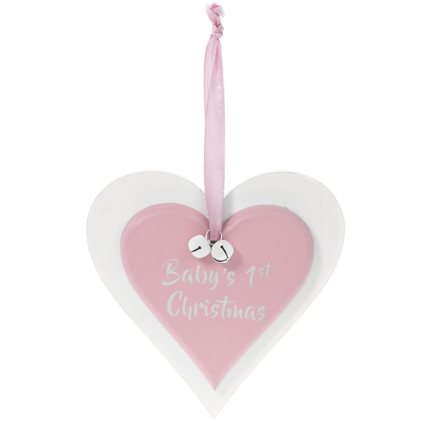 BABY'S 1ST XMAS PINK PLAQUE