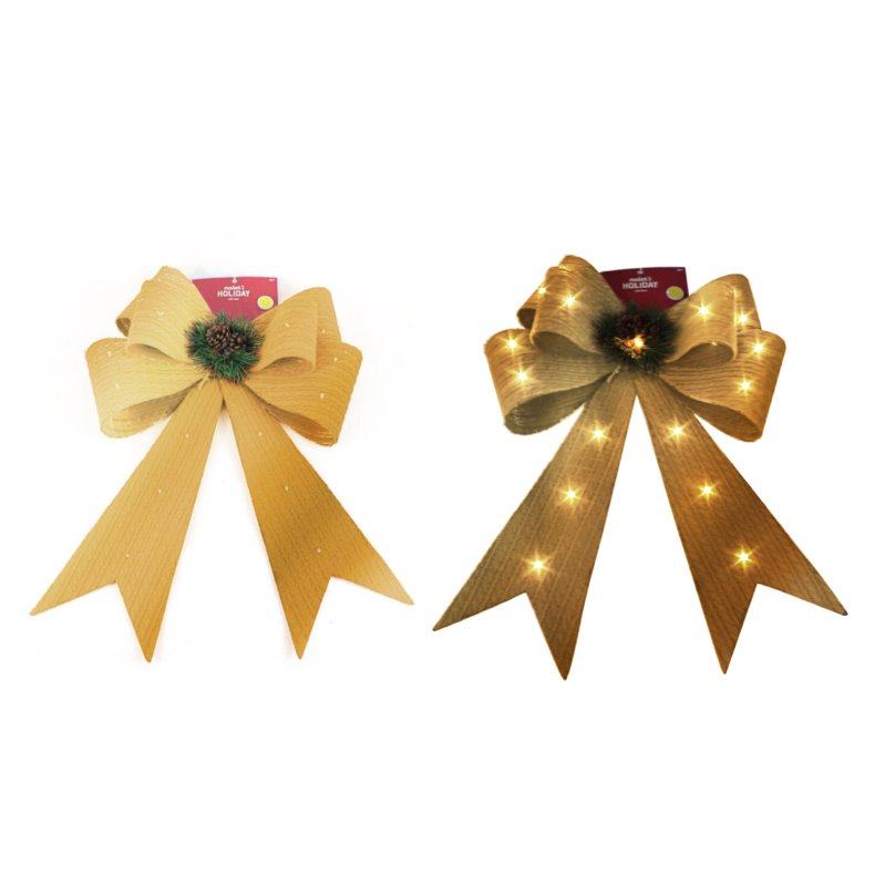 XMAS GOLD GLITTER LED BOW