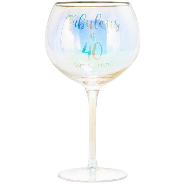HAPPY 40TH GLASS