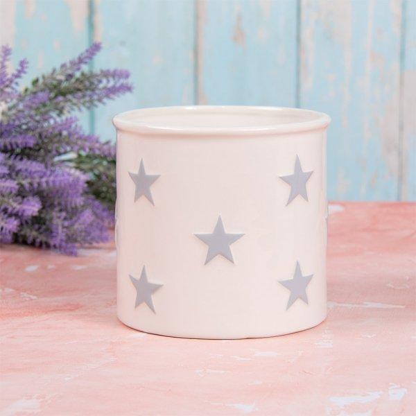 WHITE&GREY STARS PLANT POT L