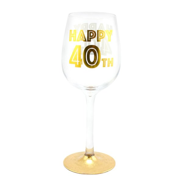 HAPPY 40TH WINE GLASS