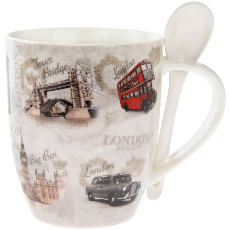VINTAGE LONDON MUG WITH SPOON