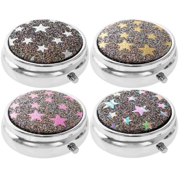 GLITTER STAR PILL BOX 4 ASST