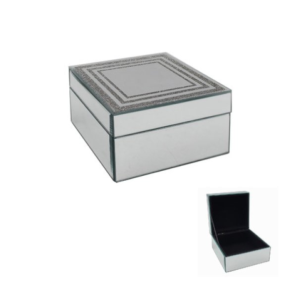 SILVER GLITTER JEWELLERY BOX