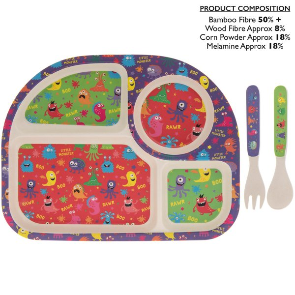 MONSTERS BAMBOO EATING SET