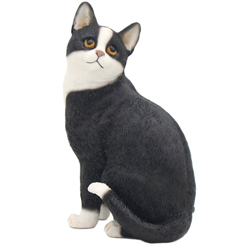 CAT SITTING BLACK & WHITE