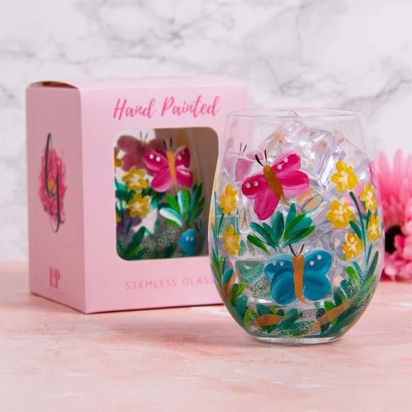 BUTTERFLIES STEMLESS GLASS