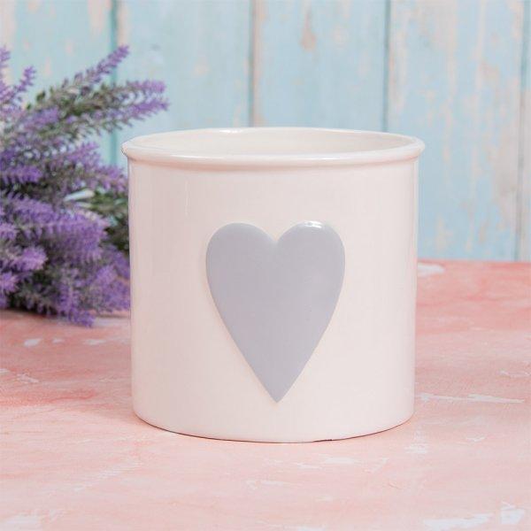 WHITE & GREY HEART PLANT POT L