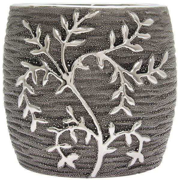 GUNMETAL LEAVES PLANTER L