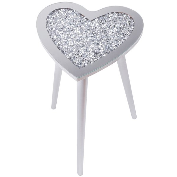 CRYSTAL HEART TABLE 33X33X50