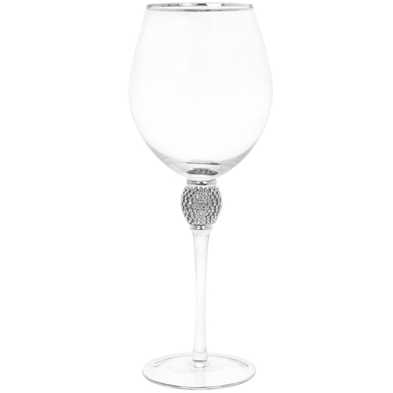 DIAMANTE SILVER WINE GLASS