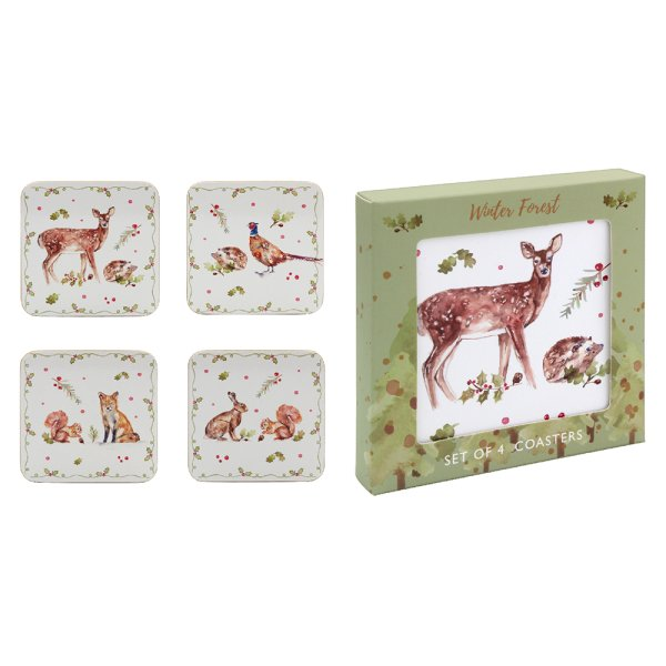 WINTER FOREST COASTERS SET 4
